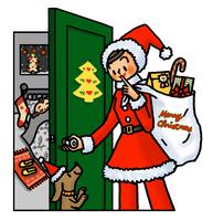 子供部屋にプレゼントを届けにいくサンタクロース姿のお母さん 02551000121| 写真素材・ストックフォト・画像・イラスト素材|アマナイメージズ