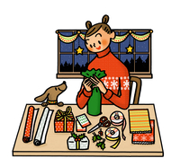 クリスマスプレゼントのラッピングをする女性 02551000122| 写真素材・ストックフォト・画像・イラスト素材|アマナイメージズ