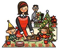 ブッシュ・ド・ノエルとクリスマスパーティを楽しむ家族 02551000123| 写真素材・ストックフォト・画像・イラスト素材|アマナイメージズ