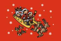 トナカイのひくソリに乗りプレゼントを配りに行く親子 02551000124| 写真素材・ストックフォト・画像・イラスト素材|アマナイメージズ