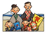 着物を着て凧を持つ家族 お正月イメージ 02551000125| 写真素材・ストックフォト・画像・イラスト素材|アマナイメージズ