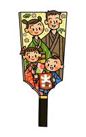 押絵羽子板風な家族 お正月イメージ 02551000126| 写真素材・ストックフォト・画像・イラスト素材|アマナイメージズ