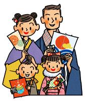凧と羽子板を持った家族 お正月イメージ 02551000127| 写真素材・ストックフォト・画像・イラスト素材|アマナイメージズ