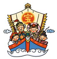 宝船に乗った七福神姿の家族 02551000128| 写真素材・ストックフォト・画像・イラスト素材|アマナイメージズ