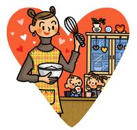 お菓子作りに意気込むお母さん 02551000131| 写真素材・ストックフォト・画像・イラスト素材|アマナイメージズ