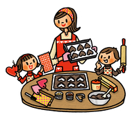 クッキーを手作りするお母さんと子供たち 02551000133| 写真素材・ストックフォト・画像・イラスト素材|アマナイメージズ