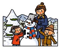 雪だるまを作る子供たちとお母さん 02551000134| 写真素材・ストックフォト・画像・イラスト素材|アマナイメージズ
