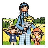菜の花畑の前でポーズをとる子供たちとお母さん 02551000136| 写真素材・ストックフォト・画像・イラスト素材|アマナイメージズ