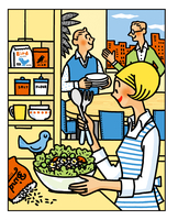 サラダを作り食事の準備をする女性 02551000137| 写真素材・ストックフォト・画像・イラスト素材|アマナイメージズ