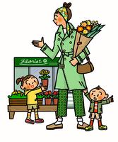 お出かけ途中で花屋に立ち寄る親子 02551000138| 写真素材・ストックフォト・画像・イラスト素材|アマナイメージズ