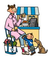 散歩途中にカフェで休憩中の親子