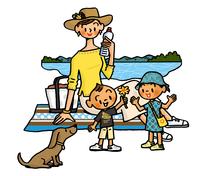 水辺で休憩するお母さんと子供たち 02551000150| 写真素材・ストックフォト・画像・イラスト素材|アマナイメージズ