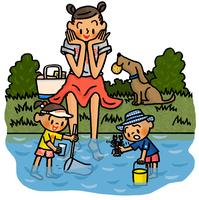 川辺で水中の生き物を採集する子供たちと見守るお母さん 02551000151| 写真素材・ストックフォト・画像・イラスト素材|アマナイメージズ