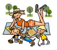 くつろぐお母さんとイヌとじゃれる子供たち 02551000154| 写真素材・ストックフォト・画像・イラスト素材|アマナイメージズ