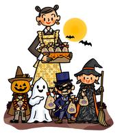 ハロウィンの夜に仮装した子供たちへお菓子をあげるお母さん 02551000161| 写真素材・ストックフォト・画像・イラスト素材|アマナイメージズ