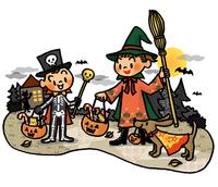ハロウィンにたくさんのお菓子をもらって帰る仮装した子供たち 02551000163| 写真素材・ストックフォト・画像・イラスト素材|アマナイメージズ