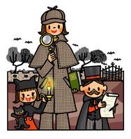 探偵の格好をし謎解きに挑むお母さんと子供たち 02551000164| 写真素材・ストックフォト・画像・イラスト素材|アマナイメージズ