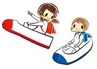 上靴ロケットに乗る女の子と男の子