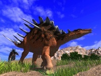 丘を歩くケントロサウルス