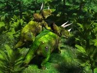 緑の中のトリケラトプス
