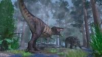雨の中の死闘 ティラノサウルスとエウオプロケファルス