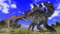 ステゴサウルスを襲うケラトサウルス