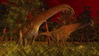 夕暮れの森のティタノサウルス