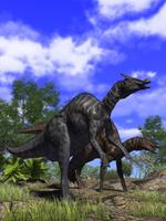 2頭のサウロロフス(ハドロサウルス科・カモノハシ恐竜)