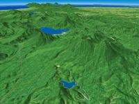阿寒国立公園を阿寒湖と雌阿寒岳含み根釧台地へ向けて望む 02614000006| 写真素材・ストックフォト・画像・イラスト素材|アマナイメージズ
