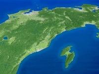 日本海上空から太平洋へ日本列島中央部を望む