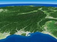 太平洋上空から南アルプスを望む