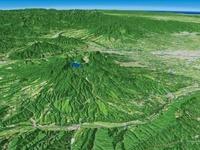 榛名山と榛名湖の周辺地形を烏川側より望む