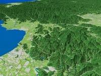 滋賀県東部上空より北側へ伊吹山地を望む 02614000013| 写真素材・ストックフォト・画像・イラスト素材|アマナイメージズ