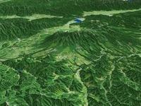 山梨県北部上空より松本盆地へ向けて八ヶ岳と周辺地形を望む