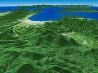 青森県南部上空より青森平野へ向けて八甲田山を望む