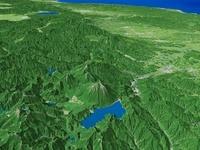 中禅寺湖と男体山を周辺地形とともに望む 02614000028| 写真素材・ストックフォト・画像・イラスト素材|アマナイメージズ