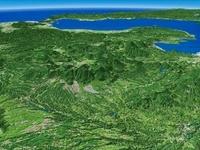 大分県南部より周坊灘へ向けてくじゅう連山と周辺地形を望む 02614000029| 写真素材・ストックフォト・画像・イラスト素材|アマナイメージズ