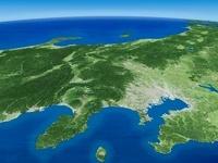 太平洋上空から関東平野・関東山地を望む