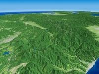 日本海上空から来たアルプスを望む