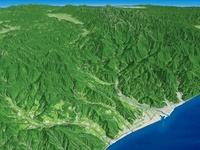 日本海上空から糸魚川市を望む
