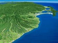 鳥取県沖日本海上空より大山とその裾野を望む