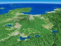 山梨県上空より駿河湾に向けて富士五湖と富士山を望む