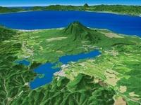 函館上空より噴火湾へ向けて大沼国定公園を望む 02614000045| 写真素材・ストックフォト・画像・イラスト素材|アマナイメージズ