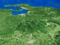 霧島連山とシラス台地を鹿児島湾へ向けて望む