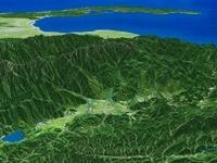 長野県北部から富山湾へ向けて白馬岳と周辺地形を望む
