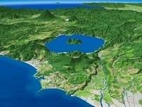 噴火湾上空より有珠山と洞爺湖を羊蹄山を背景に望む