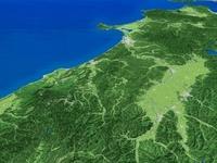 山形県上空から秋田県へ向けて出羽山地を望む