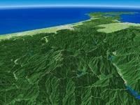 岐阜県上空から能登半島へ白山国立公園を望む