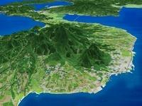 島原半島と雲仙岳とその周辺地形を南東方向から望む