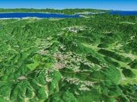山口県北東部から下関へ向けてカルスト地形を望む